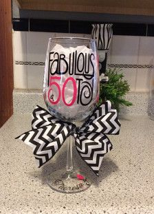 50th Birthday Wine Glass - Fabulous at 50  Hot Pink and Black! Can be personalized. No extra charge.