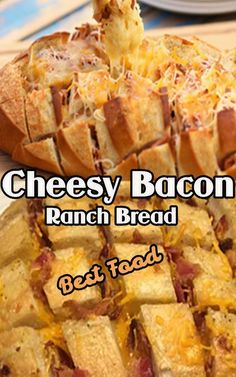 The Cheesy Bacon Ranch Bread is a great game day starter, made with French bread, mayonnaise, ranch cheese and bacon. To prepare dinner, try my recipes for Buffalo Chicken Wing, Buffalo Chicken Wings, and Bacon Fig, and Hot Bread with Bacon Cheese. Best Dinner Recipes, Jam Recipes, Seafood Recipes, Lunch Recipes, Chicken Menu, Side Dishes For Chicken, Chicken Recipes, Healthy Low Carb Dinners, Low Calorie Recipes
