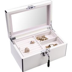 Keep your treasures organized in style with this chic white jewelry box, a lovely addition to the vanity or dresser.  Product: J...