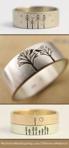 Etched rustic wedding and engagement bands, made from ethically sourced materials. It's a family business and they will even add more trees onto the ring as your family grows. You can also tell them what you'd like on the ring and he will make a sketch and etch it into your ring for your own unique design.