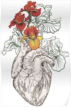 Human Figure Drawing Reference drawing Human heart with flowers by OlgaBerlet Medical Drawings, Medical Art, Male Figure Drawing, Figure Drawing Reference, Illustrations, Illustration Art, Tatoo Heart, Heart With Flowers Tattoo, Heart Flower