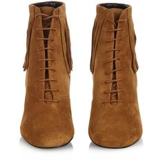 Saint Laurent Babies fringed suede boots ($889) ❤ liked on Polyvore featuring shoes, boots, booties, brown shoes, fringe boots, retro boots, fringe shoes and round toe boots
