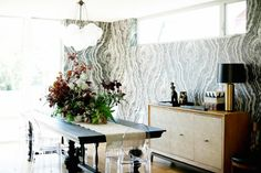 Patterned walls in dining space