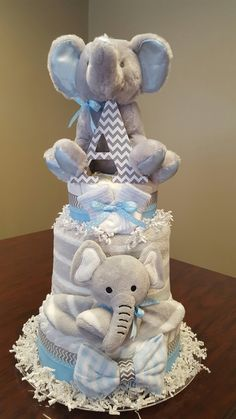 Baby boy elephant diaper cake. Practical and precious baby shower gift. Check out my Facebook page Simply Showers. http://m.me/adorablegifts