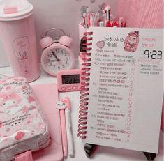 Study Room Decor, Room Setup, Room Ideas Bedroom, Cute Room Ideas, Cute Room Decor, Tout Rose, Kawaii Bedroom, Cute Desk, Cute Stationery