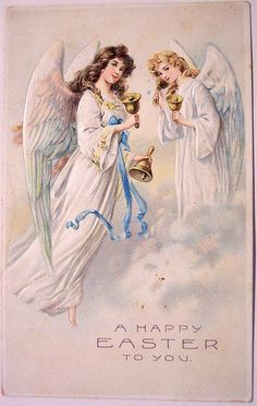 Vintage Easter Postcard...I instantly think of my mom when I see angels like these