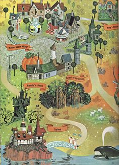 Map of Fantasyland    Published by Golden Books from 1961 to 1965, this is one of four books in a slip-cover set designed to excite families about the joys that awaited them in the World of Walt Disney.