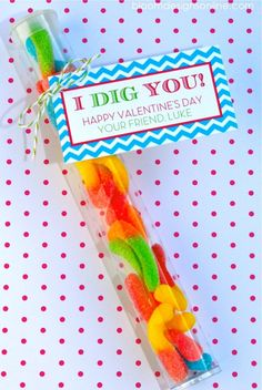 i dig you valentine. Gummy worms... But wouldn't it be cute with some crushed chocolate gram crackers that look like dirt?!  I think so!