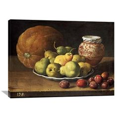 Global Gallery 'Pears on a Plate' by Luis Egidio Melendez Painting Print on Wrapped Canvas Size: