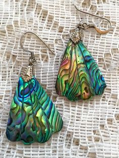 Sterling Silver with Abalone Shell Dangle by ViksVintageJewelry