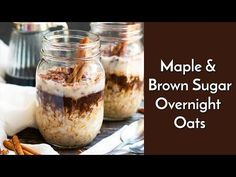 A super simple and easy way to make Maple, Brown Sugar and Cinnamon Overnight Oats in a jar! They make a wonderfully quick gluten-free breakfast. Mason Jar Meals, Meals In A Jar, Oats Recipes, Cooking Recipes, Breakfast Recipes, Free Breakfast, Vegan Breakfast, Mason Jar Breakfast, Recipes