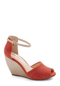 Sunlight Wedge. A wide smile, a warm hello, and wearing these suede peep toesby Seychelles  these are just some of the ways you can improve someones day! #orange #modcloth