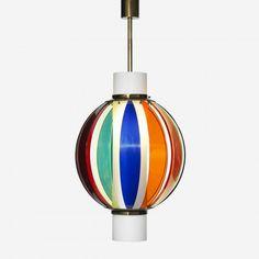 Angelo Lelli, Glass, Acrylic and Brass Pendant Light for Arredoluce, c1960.