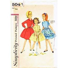 Simplicity 5044 Girl's One-piece Dress Front Button Closure Vintage Sewing Pattern