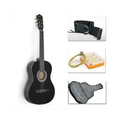 Purchase New Beginners Acoustic Guitar With Guitar Case, Strap, Tuner and Pick Black from on OpenSky. Black Acoustic Guitar, Acoustic Guitar For Sale, Acoustic Guitars, Guitar Girl, Cool Guitar, Best Guitar For Beginners, Guitar Reviews, Bass Guitar Lessons, Guitar Tattoo