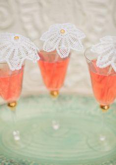Pretty DIY doily drink stirrers
