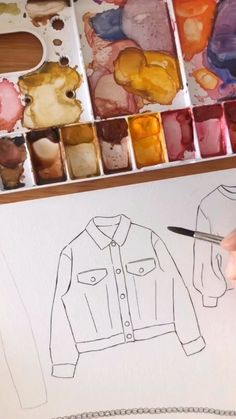 Good objects - beige jeans jacket watercolor Good objects - painting with watercolor a beige jeans jacket The most beautiful picture for fitness videos body that . Dress Design Drawing, Dress Design Sketches, Fashion Design Sketchbook, Fashion Design Drawings, Fashion Sketches, Dress Designs, Drawing Sketches, Dress Drawing, Tattoo Sketches