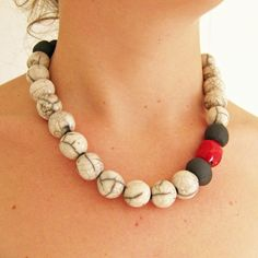 African necklace ceramic bead necklace by EarthbutterStudio, $45.00
