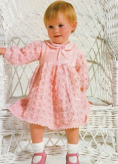 Baby Dress Knitting Pattern to fit 18 - 22 inch chest uses 4 ply yarn