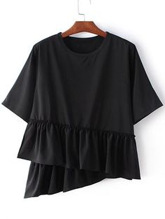 SheIn offers Black Round Neck Ruffle Hem Short Sleeve Blouse & more to fit your fashionable needs. Stylish Tops, Casual Tops, Casual Shirts, Modern Hijab Fashion, Sewing Blouses, Latest Street Fashion, Blouse Online, Short Sleeve Blouse, Shirt Blouses