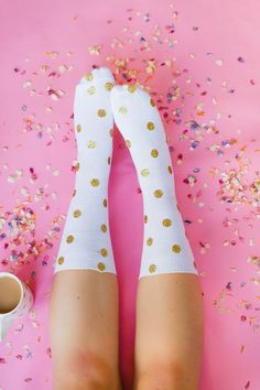 f444dacbc Two ways to DIY your own Christmas socks. These polka dot socks would make  great
