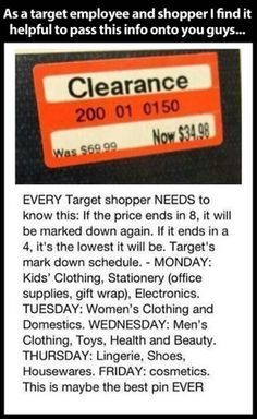 How to know when Target prices will go down, on what days, and if they've gone down as far as they will go.