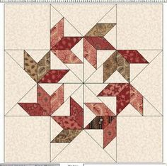 Cloud of Quilt Patterns: Flying Swallows BlockBase All the quilt photos are from online auctions. Ruth Finley called this variation on a star block Circling Sw. Free Pattern for Flying Swallows & the Winner Patchwork Quilting, Scrappy Quilts, Mini Quilts, Patchwork Ideas, Star Quilt Blocks, Star Quilts, Barn Quilt Patterns, Pattern Blocks, Quilting Projects