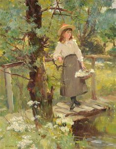 David Fulton - Girl on a Sunlit Bridge in a Flower-Strewn Meadow Russian Painting, Russian Art, Figure Painting, Baroque Art, Academic Art, Cow Art, Magazine Art, Figurative Art, Art Pictures