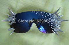 Online Shop 2014 women Non-mainstream punk rivet rhinestone glasses lady gaga rivet punk rhinestone blue reflective mirror sunglasses show Aliexpress Mobile