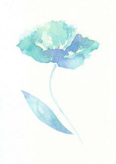 Flower, flower print, giclee art,  giclee, Watercolor print, watercolor, Poppy, abstract giclee,  original watercolor,  giclee print. $15.00, via Etsy.