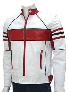 White Biker Cafe Racer Slim Fit Real Sheepskin Motorcycle Leather Jacket For Men Cafe Racer Leather Jacket, Leather Jacket Outfits, Men's Leather Jacket, Motorcycle Leather, Biker Leather, Lambskin Leather, White Leather, Leather Men, Motorcycle Jacket