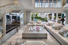 15 Interior Design Ideas of Luxury Living Rooms Dream Home Design, Modern House Design, Home Interior Design, Interior Livingroom, Modern White Living Room, Coastal Living Rooms, Coastal Homes, Coastal Entryway, Coastal Farmhouse