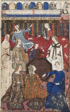 Leaf from a Cocharelli Treatise on the Vices: Accidia and Her Court, c. 1330  attributed to Cybo, Monk of Hyeres (Italian)