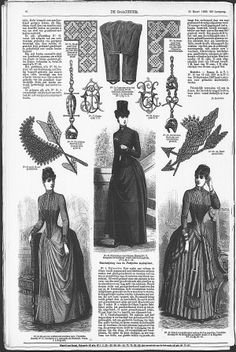 Gracieuse. Geïllustreerde Aglaja, 1888, aflevering 12, pagina 96 has a riding habit including pantalons under it, pattern can be reached by clicking 'volgend object' until a pattern sheet arrives and it should be the first of those, 1-3 are the pantalons, 4-13 should be the rest of the habit.