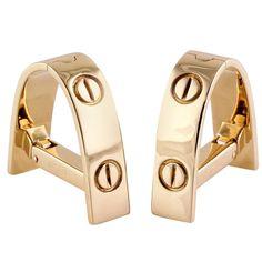 Cartier Love Triangular Gold Cufflinks | From a unique collection of vintage cufflinks at https://www.1stdibs.com/jewelry/cufflinks/cufflinks/