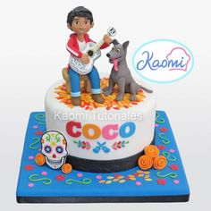 This Terrific Coco Cake has figures of Miguel and Dante on top of the cake. Themed Birthday Cakes, 4th Birthday Parties, Baby Birthday, Themed Cakes, Mexican Birthday, Mexican Party, Coco Pixar, Coco Film, Cake Coco