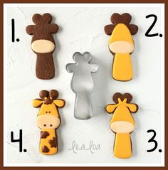 How to make cute and adorable giraffe sugar cookies - a royal icing cookie decorating tutorial with step-by-step photos and video! by eve Cookies For Kids, Baby Cookies, Baby Shower Cookies, Iced Cookies, Cute Cookies, Cupcake Cookies, Summer Cookies, Cookie Favors, Heart Cookies