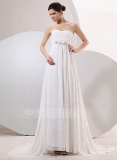Corte imperial Escote corazón Tren de la corte Chifón Vestido de novia con Volantes (002014042)