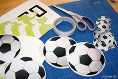 soccer party ideas (striped cupcake wrappers, polka dot popcorn holders)