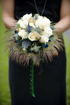 Feather Bouquet Peacock Golden Wedding Bridal Alternative