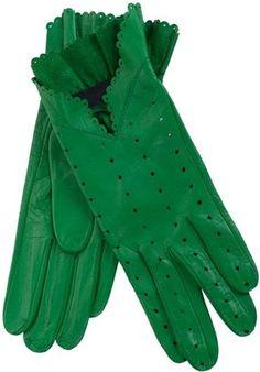 ShopStyle: CHRISTINE BEC - Green leather gloves