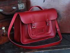 Classic Red Leather Satchel 15 Inch With Handle