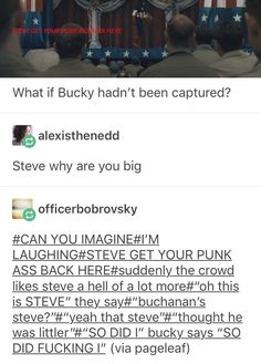 Steve just stops in his fucking tracks, whole body tensed. Anyone who can see his eyes can tell how terrified he is because last time he heard Bucky yell that loud was when he got into a fight against like four other guys. Funny Marvel Memes, Marvel Jokes, Dc Memes, Avengers Memes, Marvel Dc Comics, Marvel Avengers, Avengers Imagines, Tom Holland, Bucky And Steve