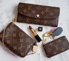 Louis Vuitton monogram emilie wallet with rose ballerine , mini pochette & cles / key pouch