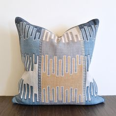 Denim Tapestry Pillow via summerhousestyle.com