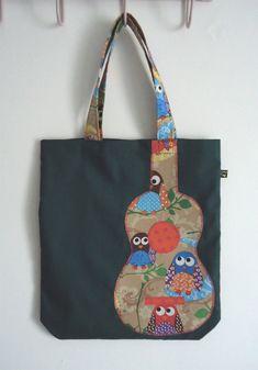 Best 12 Green tote bag with cute owl print appliqué ukulele: – SkillOfKing. Tote Bags Handmade, Diy Tote Bag, Reusable Tote Bags, Diy Bags Purses, Patchwork Bags, Denim Bag, Fabric Bags, Market Bag, Bag Making