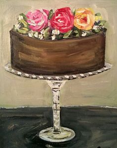 Chocolate cake with frosting flowers on a fancy crystal cake pedestal oil painting. Pretty!