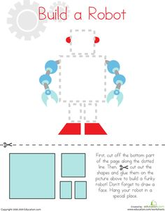 Small motor, size sorting/matching, following instructions. Worksheets: Cutting Squares and Rectangles: Build a Robot