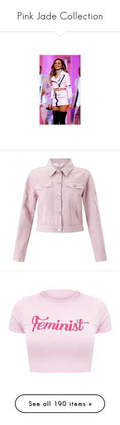 """""""Pink Jade Collection"""" by webuildbridgesnotwalls ❤ liked on Polyvore featuring outerwear, jackets, pink, petite, jean jacket, miss selfridge jackets, denim jacket, petite jackets, petite jean jacket and tops"""