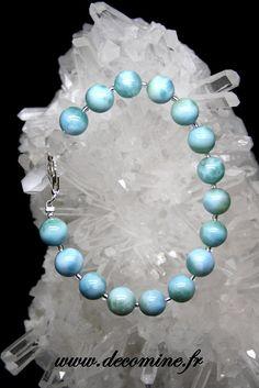 bracelet larimar perle 9 mm extra